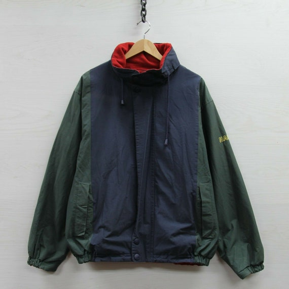 Vintage Nautica Fleece Jacket Size Large Green Red