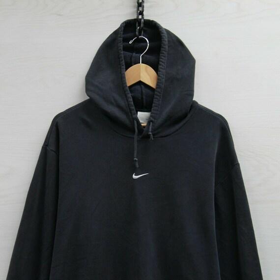 Vintage Nike Sweatshirt Hoodie Size XL Black Embro