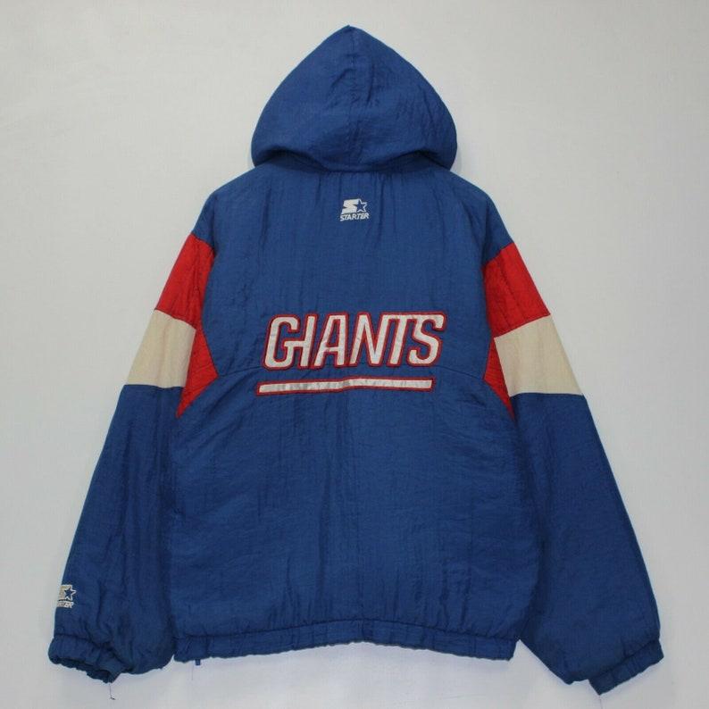 958bf9e5 Vintage New York Giants Starter NFL 1/4 Zip Insulated Jacket Size Large