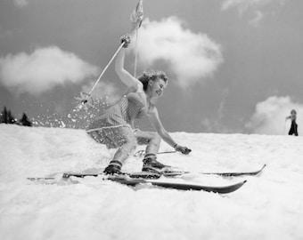 Naked black woman outdoor skiing Vintage Ski Poster Etsy