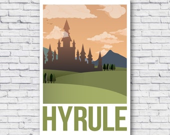 b78851bd5c Retro Hyrule Travel Poster, Retro Zelda Travel Poster, Legend of Zelda  poster, Minimalist, Print, Wall Art