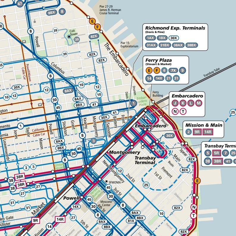 Muni Subway Map.Muni Map San Fransisco Muni Metro Rail Map San Fransisco Bus Map Rapid Transist Map Subway Map Train Map Trolley Map Poster Print
