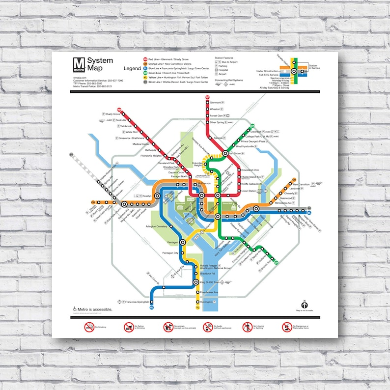 Real Dc Subway Map.Large Dc Subway Map Washington Dc Metro Map Poster Print Wall Art Rail Train Wall Decal Rolled Canvas