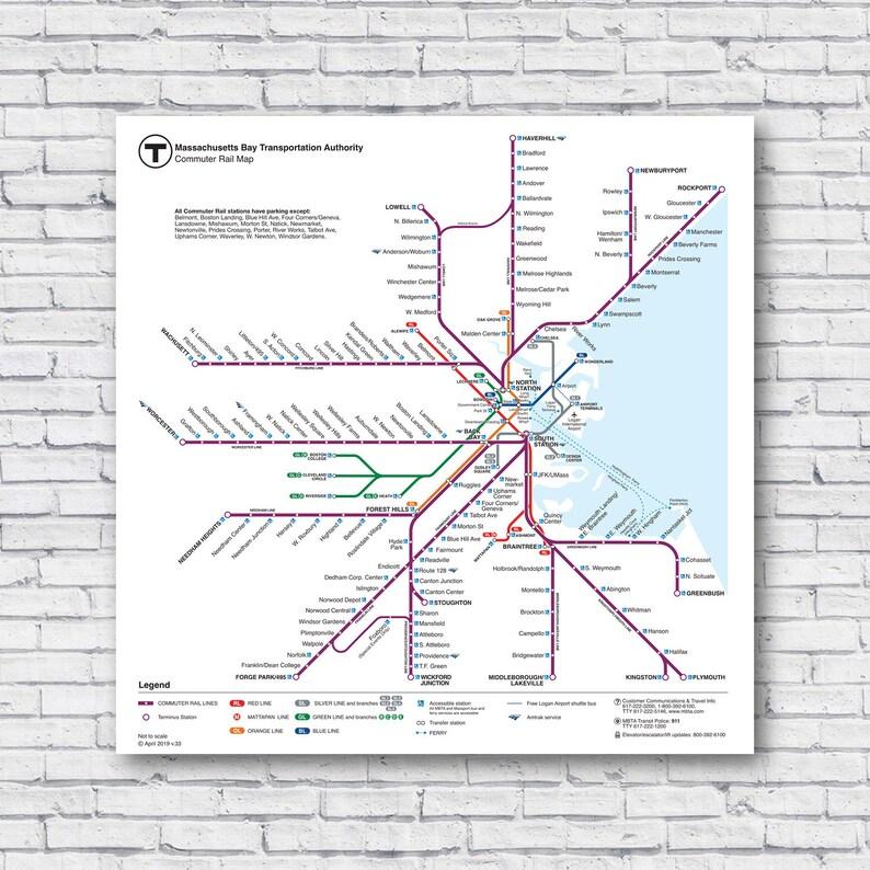Subway Map Boston Mass.Large Boston Commuter Rail Map 24 X24 2019 Current Train T Map Subway Bus Rapid Mass Trasit