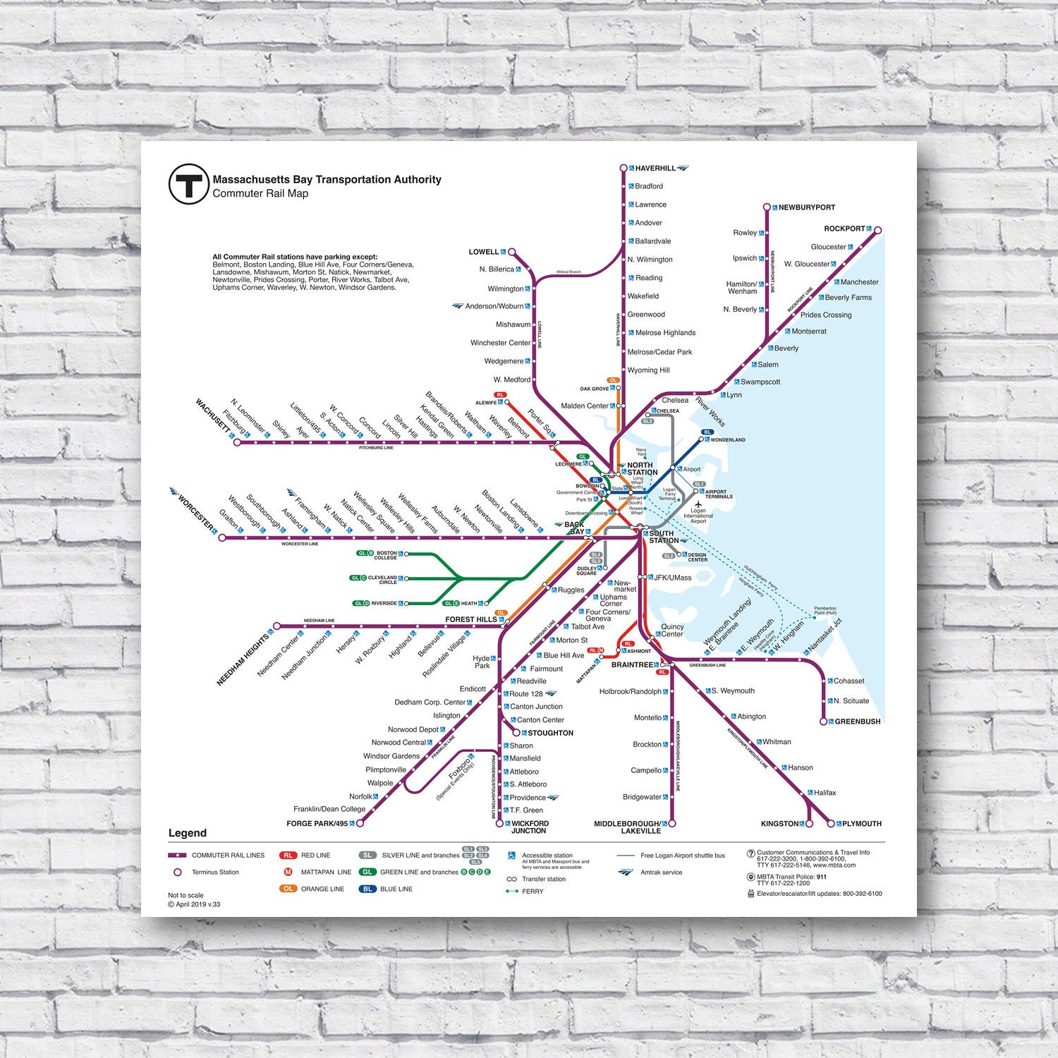 Alewife Subway Map.Large Boston Commuter Rail Map 24 X24 2019 Current Train T Map Subway Bus Rapid Mass Trasit