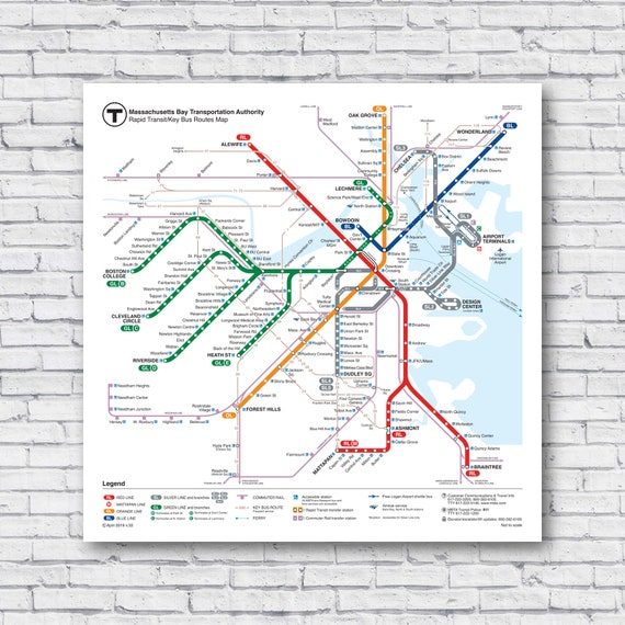 Boston Subway Map With Hotels.Large Boston Subway Bus Map 24 X24 2019 Current Train Rail T Map Rapid Mass Transit Poster Print