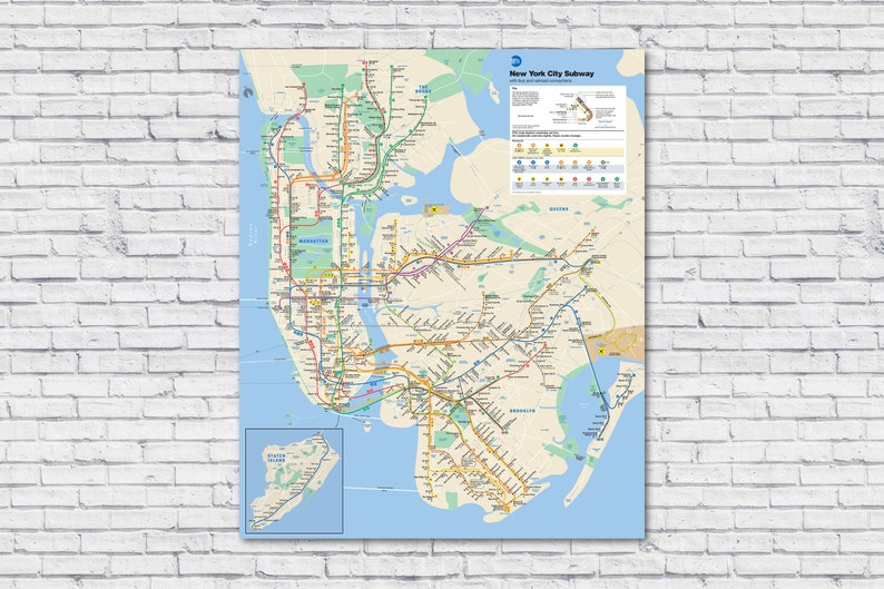 New York Subway Map To Print.Large Nyc Subway Map 2019 Current New York City Subway Map Train Rail Map Rapid Mass Transit Bus Railroad Poster Print Manhattan Brooklyn