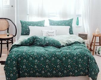 cfd82e377ff5 2019 New Blackish Green Duvet Cover Floral 100%Cotton Doona Cover  Comfortable Summer Bedding Sets Fresh Quilt Cover Elegant Bedroom Decor