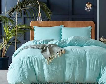 19e06c5f9129 Natural Aqua Green Duvet Cover Washed Comforter Cover Comfortable Pompons  Edge Design Balls Home Bedding Sets UK Single Double King