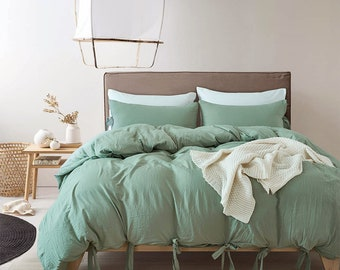 b0acbfe27679 Aqua Green Duvet Cover Solid Color Washed Cotton Comfortable Lace-up Design Quilt  Cover Home Bedding Sets Warming Bedroom Decoration Classic