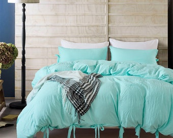 515373b697a7 Aqua Green Duvet Cover set Washed Cotton Comfortable Lace-up Design Quilt  Cover Home Bedding Sets Warming Bedroom Decoration Classic