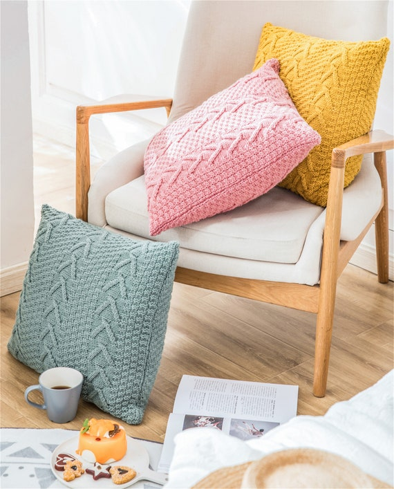 V shaped thick wool knitted pillow