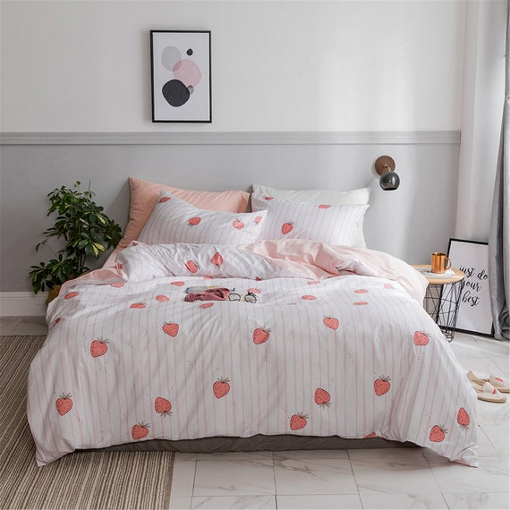 Summer Fruits Reversible Duvet Quilt Cover Bedding Set Pillowcases Single Double