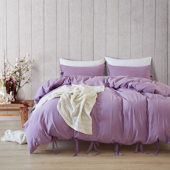 Pale Purple Duvet Cover Nordic Bedding Set Washed Cotton Soft Etsy
