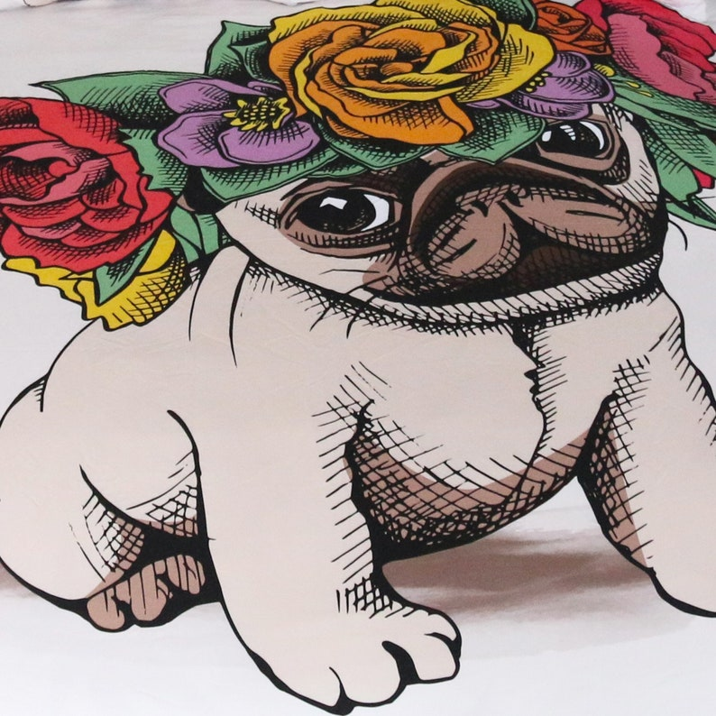 Personality High Quality Bedding Sets 3D Lovely Pug Duvet Cover with YKK Zipper 3 Piece Lightweight Kids Quilt Cover Set Bedroom Decoration