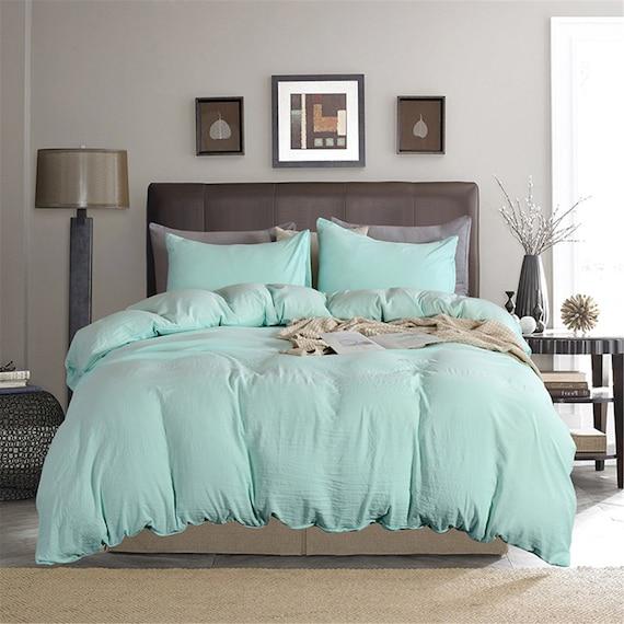 Minimalist Duvet Cover Mint Green, Light Green Quilt Bedding