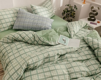 Mint Green Lattice Duvet Cover Set 100% Cotton Comforter Cover Check Home Bedding Sets Quilt Cover Twin Full Queen King Special Gifts
