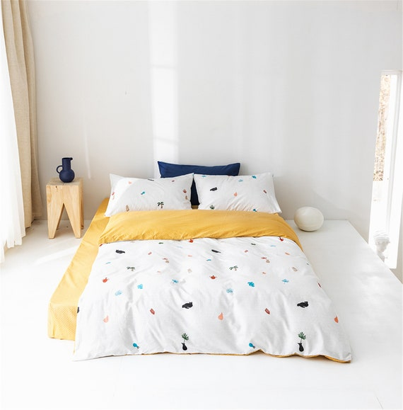 Cotton Box Copripiumino.2019 White Yellow Duvet Cover Maize Floral 100 Cotton Doona Etsy