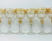 Set of Six Vintage Hofbauer Bleikristall 24 Lead Crystal Wine Glasses Made in Germany