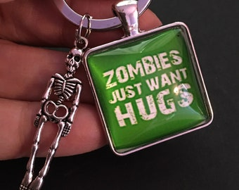 Zombies Just Want Hugs Black Torch Key Ring