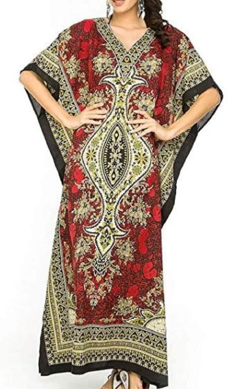 Long Kaftan Dress Maxi Hippy Boho Women Caftan Tunic Dress Night Gown Size Casual Kimono Sleeve Evening Beachwear Sundress Plus Size