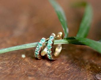 Natural Gemstone Huggies Earrings Christmas Gift Jewelry 14k yellow Gold Hinged Hoops Emerald Gemstone Hoop Solitaire Drop Hoop Earrings