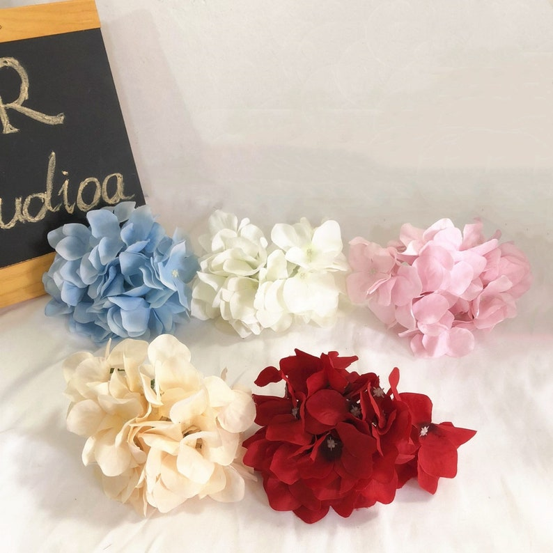 Artificial Hydrangea Heads Fake Silk Hair Flowers DIY Craft Accessory Crown Wedding Decor Millinery Baby Bridal Shower Wall Backdrop Zl006