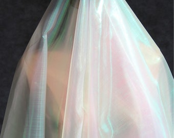Symphony Laser Gauze Holographic Lace Fabric Transparent Perspective Holographic Fabric,Transparent Polyester Fabric  59 inches