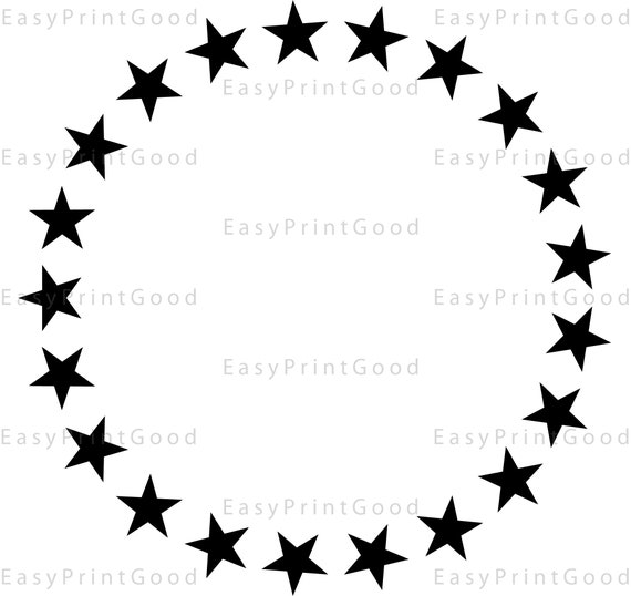 Star Monogram Frame Circle Frame Clipart Frame Sign Digital Etsy