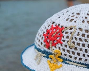 061c676d Panama hat crochet Panama hat kids Panama hat collection Sea hat Anchor  White Panama Marine style Hat for boy