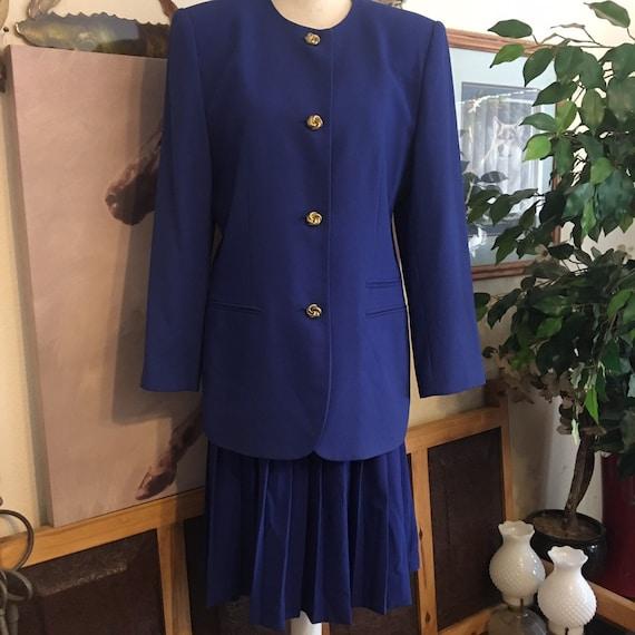 Preston & York royal blue blazer pleated skirt sui