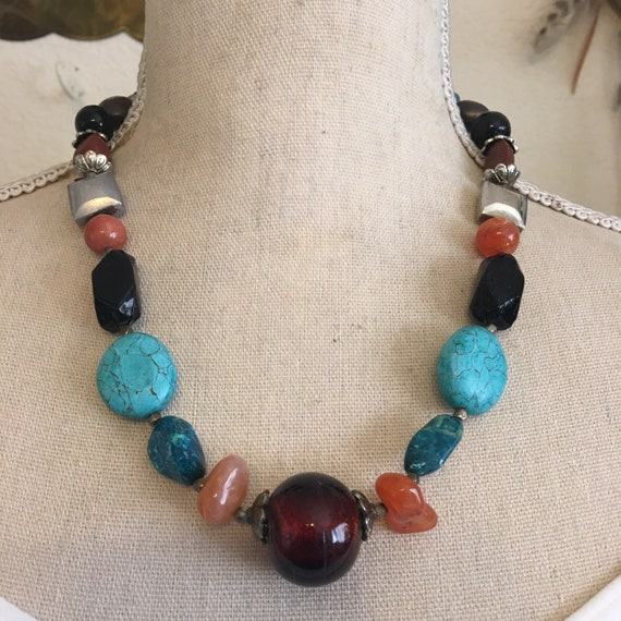 Gift for her -S2018-06 Natural Banded Agate Necklace Chunky Agate Necklace Organic Stone Necklace