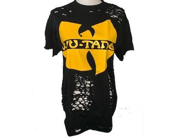 aa581607 Wu-tang wu-tang clan distressed ripped women graphic t-shirt