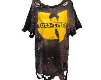 dfc6f204b441 Wu-tang Wu tang clan Women distressed bleached ripped Graphic t-shirt
