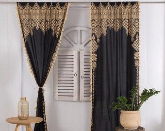Indian Handmade Off White Valances Curtain Customized Door Curtain Room Divider Panel Net Sheer Window Treatment Pompom Fringe Curtain Set
