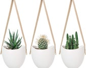 Ceramic Hanging Planter Succulent Air Plant Flower Pot Wall Decor, Set of 3