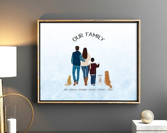 Custom Family Portrait, Personalized Gift, Portrait for family, Wall Art, Prints, Anniversary Gift, Prints, Couple, Decor, Family Gift, Gift