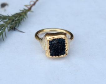 women ring Dainty raw watermelon tourmaline slice ring electro  tourmaline ring handmade jewelry gemstone ring jewelry tourmaline jewelry