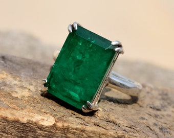 Details about  /Natural Emerald ring signet ring 925 sterling silver ring unisex ring Emerald