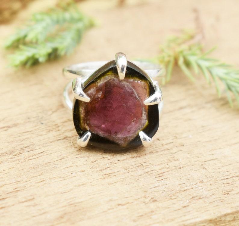 tourmaline ring wedding anniversary ring watermelon tourmaline ring 925 sterling silver ring tourmaline ring birthday jewelry gemstone ring