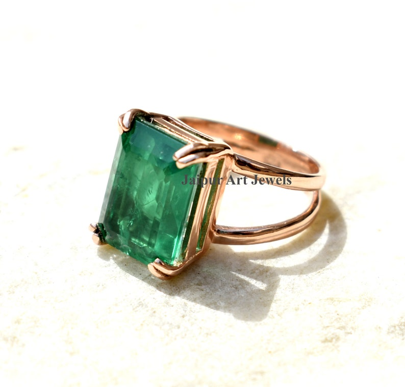 emerald ring rose gold fill emerald ring 925 sterling emerald ring birthstone emerald jewelry engagement gift ring gemstone ring