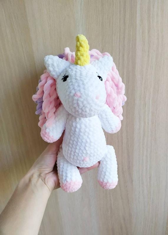 Soft plush unicorn girl unicorn in rainbow Toy unicorn for girls Pink plush unicorn crochet toy White unicorn crochet toy gift baby