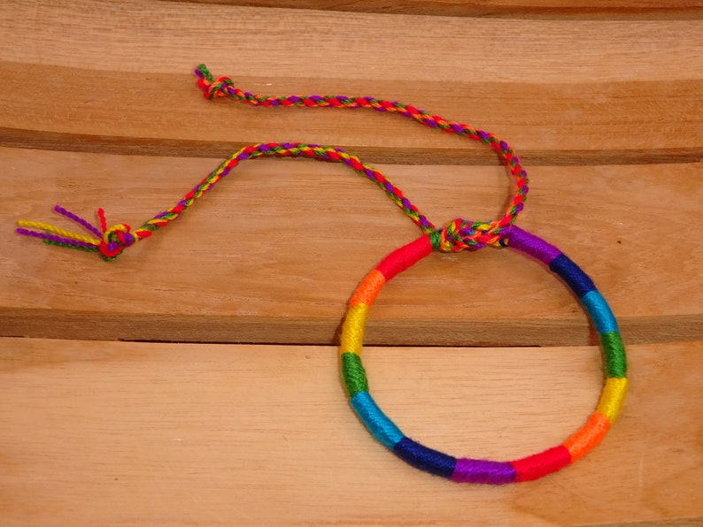 Brazilian friendship cotton A stick man woman mixed macrame friendship lucky bracelet Rainbow rainbow