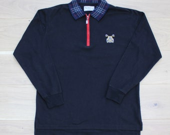 1e0da8127 Vintage Burberry Zip Up Long Sleeve Polo
