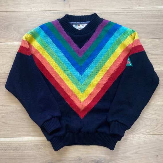 Vintage SOS Rainbow Wool Knit Sweater