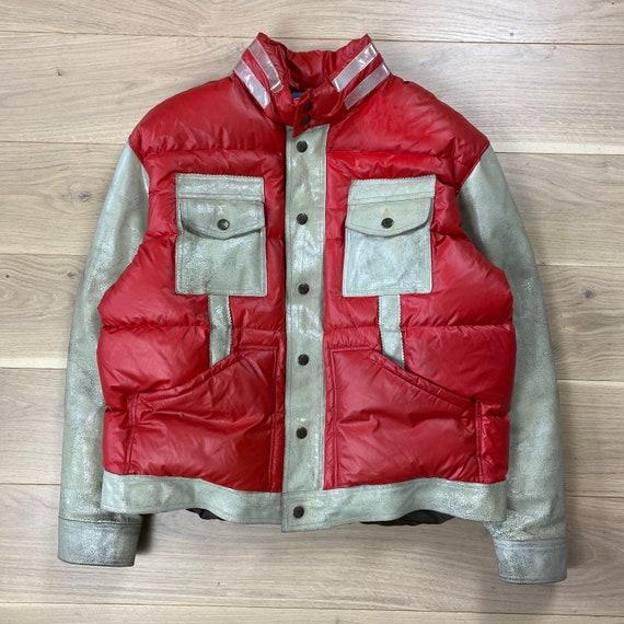 Vintage 90s Diesel Thrashed Leather Puffer Jacket
