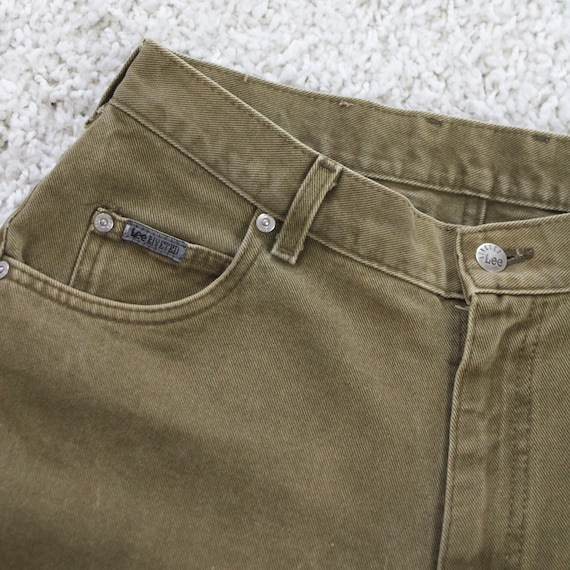 vintage LEE RIDERS faded olive green jeans womens tapered