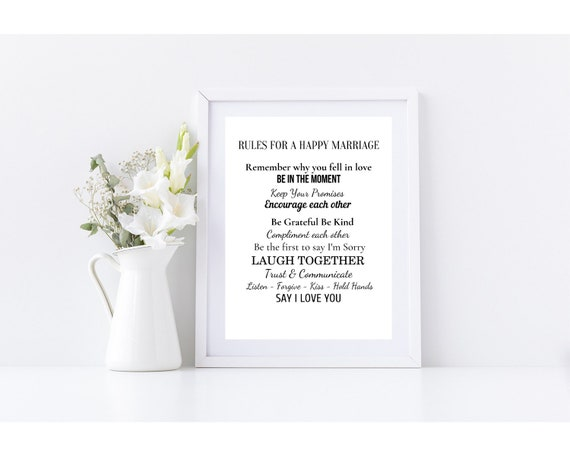 rules for a happy marriage wedding gift digital