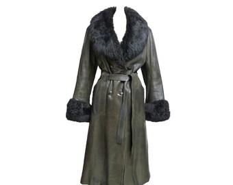 Coat Vintage Leather Men Brown Deep Breasted Jacket Double j3L54AR