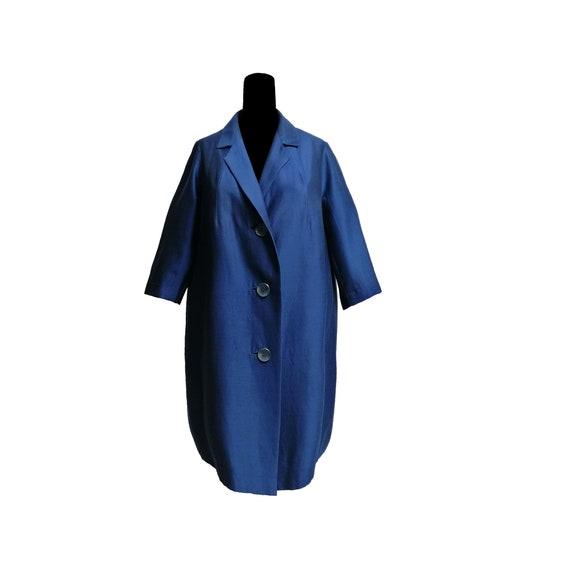 Cocoon overcoat silk wool coat manteaux vintage 50